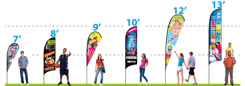 Custom Feather Flags - size chart from https://www.retractable-banner-stands.com/custom-feather-banners/