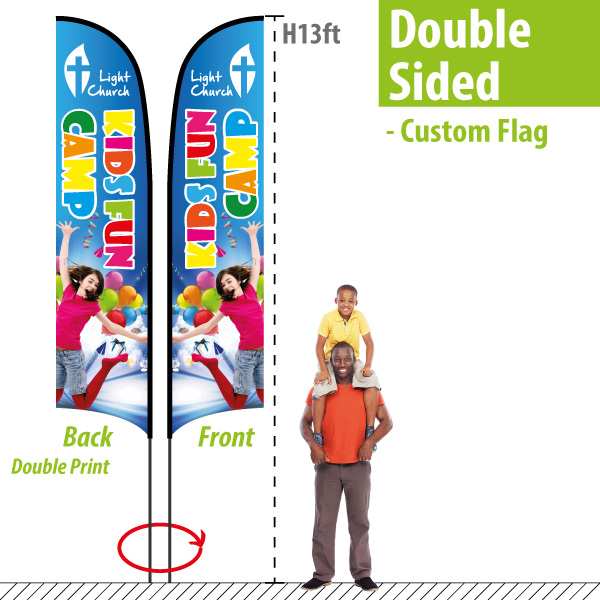 Double Sided Feather Flags custom printed