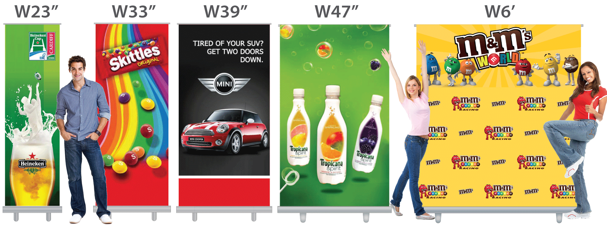 Retractable Banners Sizes comparison on retractable-banner-stands.com